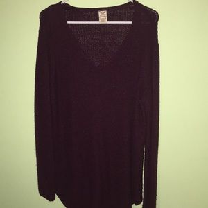 Faded Glory Maroon Shimmer Long Sweater XL